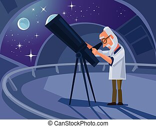 Astronomer scientist character looking through telescope. ...
