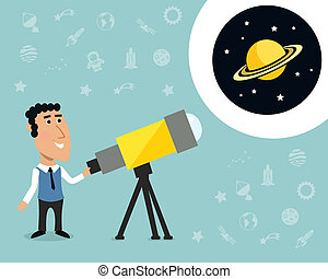 Astronomer with telescope print - Cartoon male astronomer...