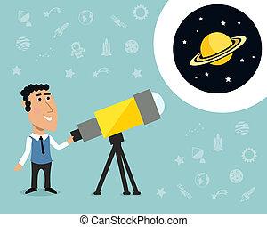 Astronomer with telescope print - Cartoon male astronomer...