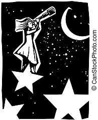 Astronomer Woman with Telescope - Woodcut style...