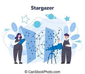 astronomia, astronomo, professionale, concept., scienziato, ...