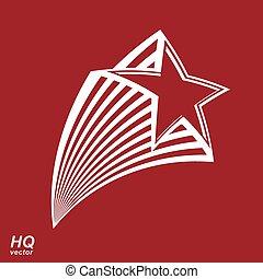 astronomia, conceitual, ilustração, pentagonal, cometa, estrela, -, objeto celestial, com, decorativo, cometa, tail., eps8, superstar, icon., forças armadas, desenho, element.