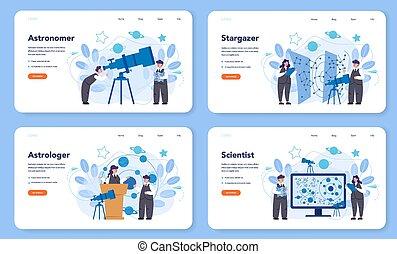 astronomia, o, atterraggio, web, set., pagina, astronomo, ...