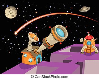 astronomia, obserwatorium, rysunek