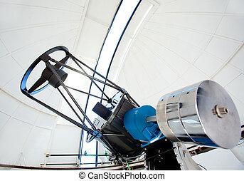 astronomic, observatorium teleskop, in, a, kuppel
