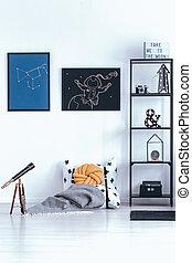 astronomic, plakate, in, schalfzimmer, inneneinrichtung