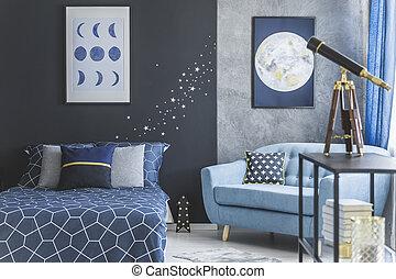 astronomic, schalfzimmer, inneneinrichtung, mit, teleskop