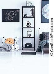 astronomic, schlafzimmer kindes, inneneinrichtung