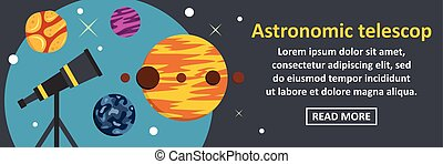 Astronomic telescop banner horizontal concept. Flat...