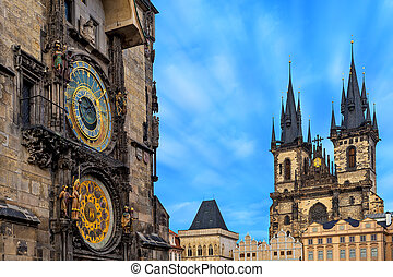 Astronomical clock and Church of Our Lady before Tyn in Prague.