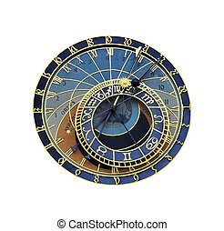 Astronomical clock in Prague isolated on the white ...