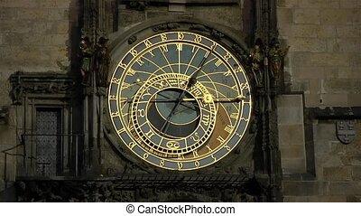 Astronomical clock of Prague at night.