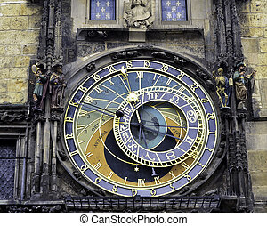Astronomical clock of Prague - A close up view of the...