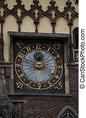 Astronomical clock on old city hall tower in Wroclaw, Poland