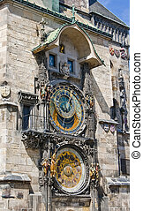 Astronomical clock on the wall of the Old Town Hall