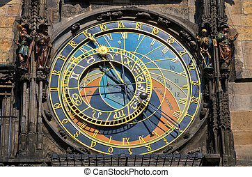 Astronomical clock on Town hall, Prague, Czech Republic.
