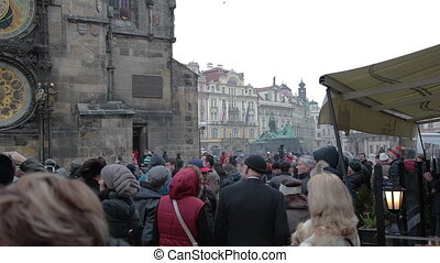 Astronomical Clock Orloj - Prague Czech Republic, February...