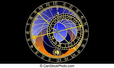 Astronomical clock - Cartoon animation - astronomical clock