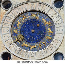 Astronomical Clock Tower. St. Mark's Square (Piazza San Marko), Venice, Italy.