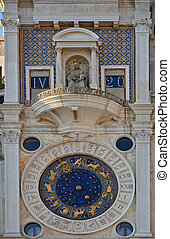 Astronomical Clock Tower. St. Mark's Square (Piazza San Marko), Venice, Italy.