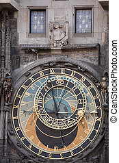 Astronomical clock - Unique astronomical clock on gothic Old...