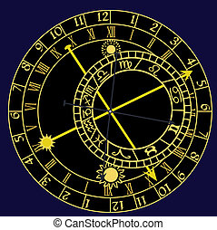 astronomical clock - Illustration of the astronomical clock...