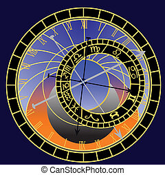 astronomical clock - vector - Illustration of the...