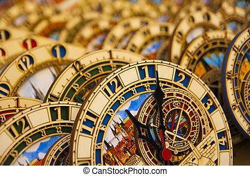 Astronomical clocks - Many small astronomical clocks.