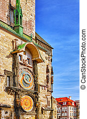 Astronomical Clock(Staromestske namesti)on historic square in the Old Town quarter of Prague, the capital of the Czech Republic. It is located between Wenceslas Square and the Charles Bridge. Czech Republic.