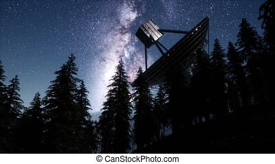 astronomical observatory under the night sky stars....