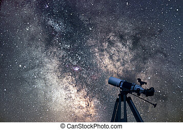 Astronomical Telescope  Starry night. Milky Way Galaxy.