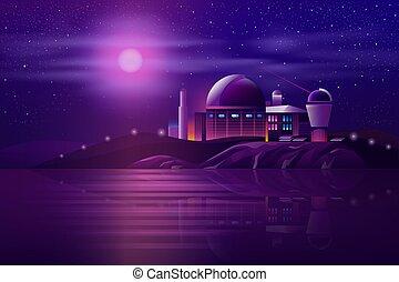 astronomico, vettore, osservatorio, telescopi, cartone ...