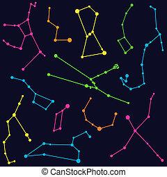 astronomie, -, barevný, ilustrace, souhvězdí