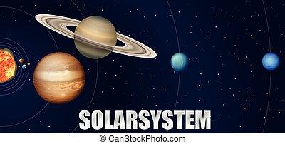 astronomie, design, systém, sluneční