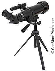 astronomie- teleskop, mit, stativ