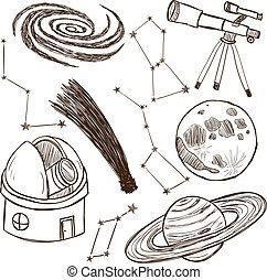 astronomique, ensemble, objets