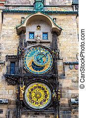 astronomique, prague., clock.