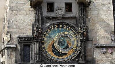 astronomique, prague, p.m., 3, horloge