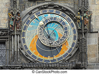 astronomique, staromestska, carrée, prague, horloge