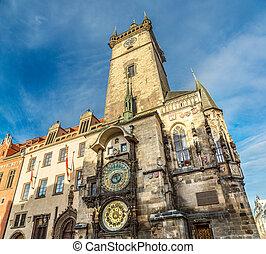 astronomisch, prague., clock.