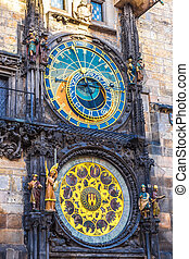 astronomisch, prague., clock.