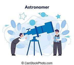 astronomo, astronomia, professionale, scienziato, dall'...
