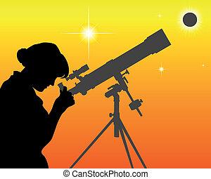 astronomo, silhouette