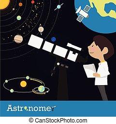 astronomo, vettore, occupazione