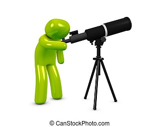 Astronomy - 3d image, astronomer with telescope