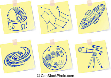 Astronomy and observatory sketches - Illustration of ...
