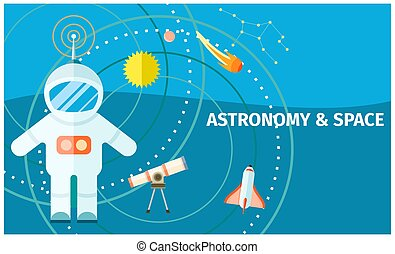 Astronomy and Space Colorful Poster with Spaceman