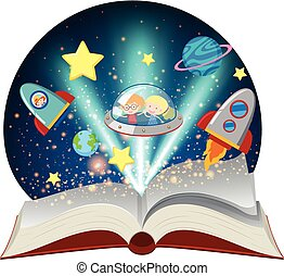 Astronomy book with kids in spaceship