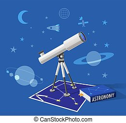 Astronomy Class Illustration on Blue Background