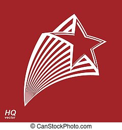 Astronomy conceptual illustration, pentagonal comet star - celestial object with decorative comet tail. Eps8 superstar icon. Armed forces design element.